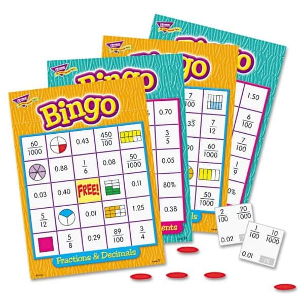 Fractions Decimals and Percents Bingo