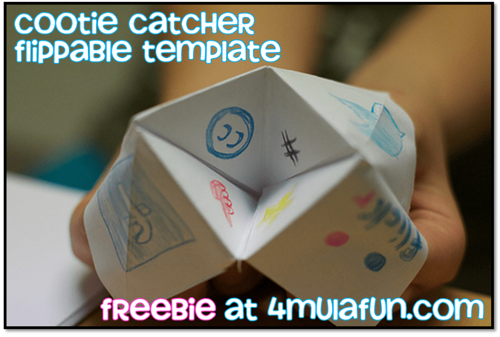 Cootie Catcher Template Freebie at 4mulaFun.com