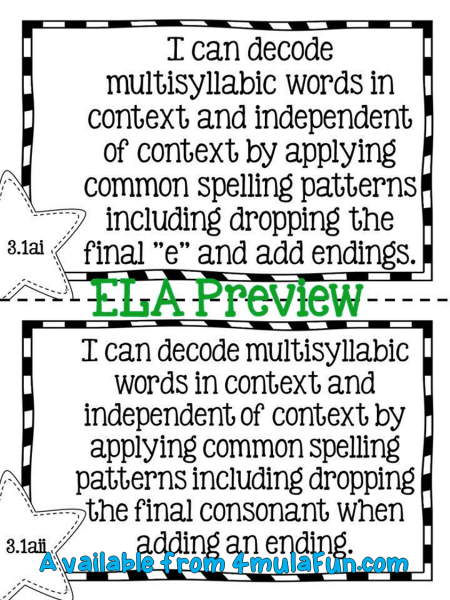 3rd Grade ELA I Can Preview