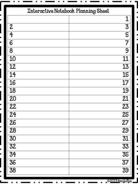 INB Planning Sheets