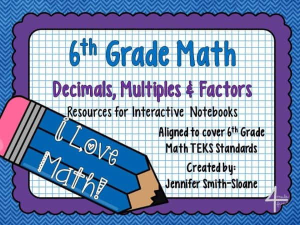 6th Grade Decimals, Multiples and Factors Interactive Notebook Unit