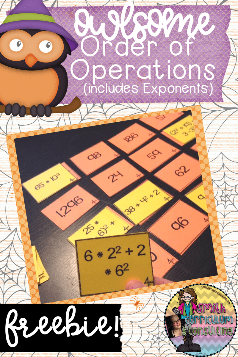 New Freebie for You- Owl-Some Order of Operations
