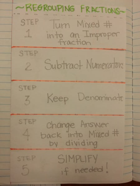 Regrouping with Fractions Steps