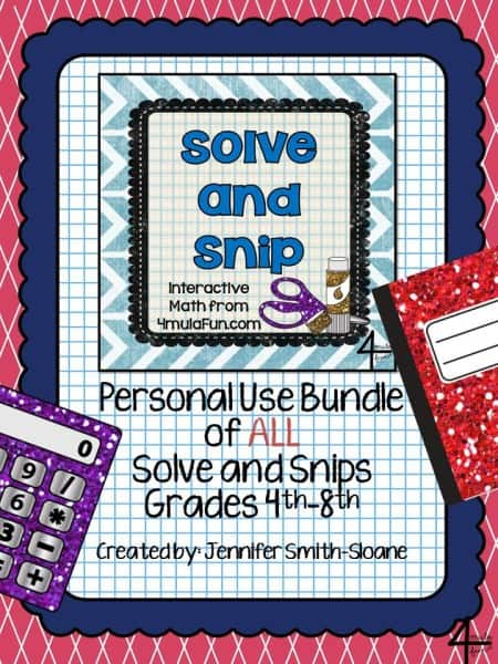 Solve and Snip Bundle Grades 2nd-8th
