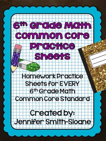 6th Grade Common Core Homework Pack