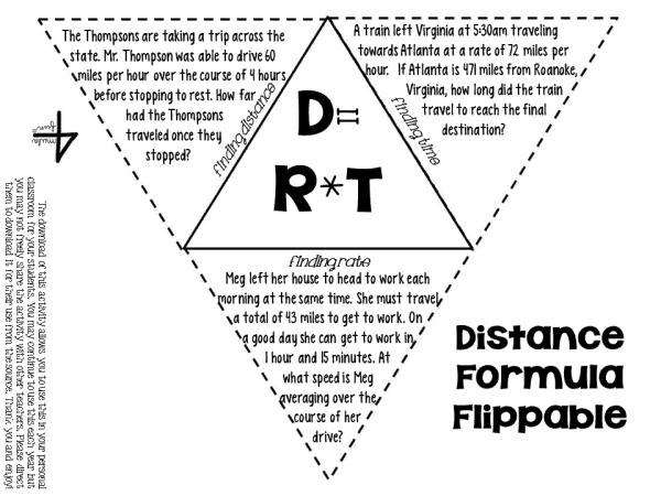 FREEBIE Distance Formula Flippable