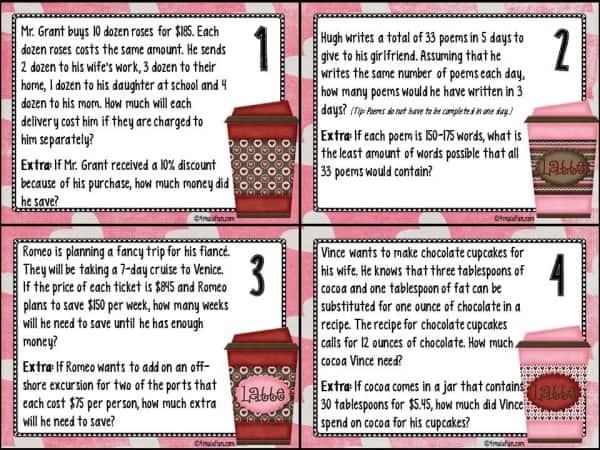 Whole Latte Problem Solving Task Cards