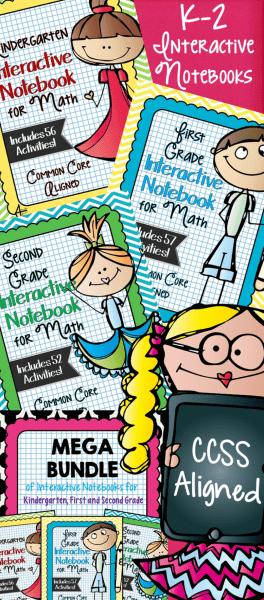 Kinder through Second Grade Math Interactive Notebooks
