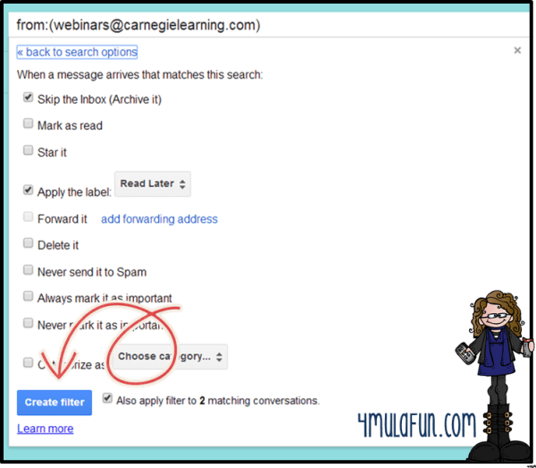 gmail how to add filters