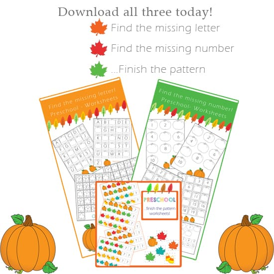 Fall Themed Printable Packet- Alphabet, Numbers & Patterns