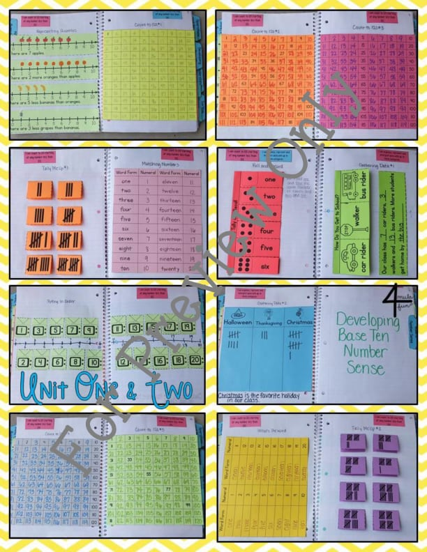 First Grade Math Interactive Notebook Bundle Activities For Young