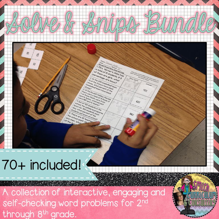 Solving word problems through self-checking has never been easier with this bundle of Solve and Snips created by Smith Curriculum and Consulting.