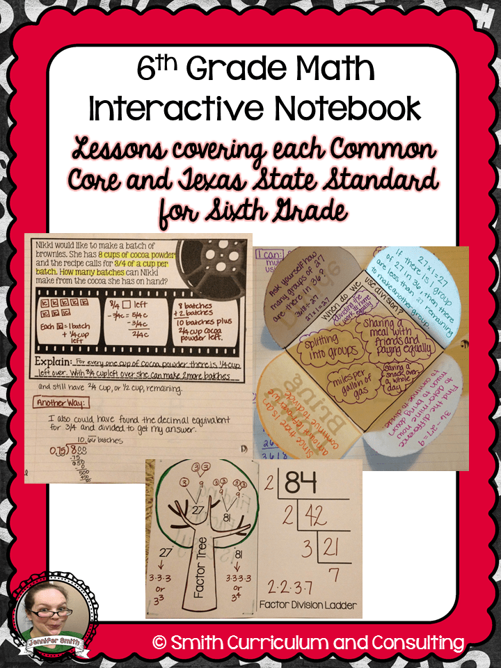 6th Grade Interactive Notebook Bundle All Standards Smith