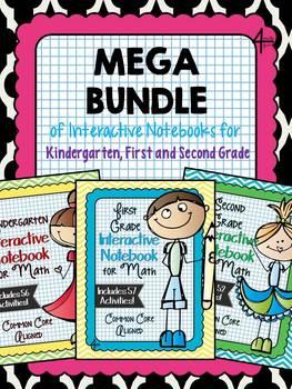 Mega Bundle of Kindergarten, First, and Second Grade Interactive Notebooks