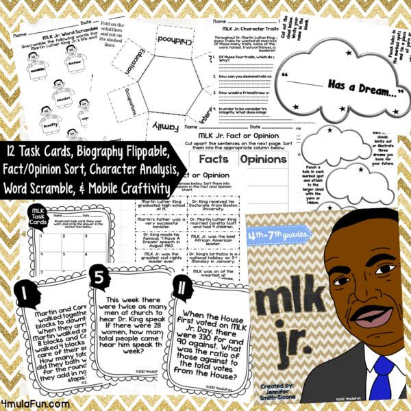 This MLK Activity Bundle has activities that you can use with very little to NO PREP! 12 task cards with recording sheet and answer key; a biography flippable perfect for independent research or even a non-fiction novel; fact and opinion sort with cards, recording sheet and answer key; character traits response activity; Word Scramble activity and answer key; and a MLK Jr. mobile craftivity!