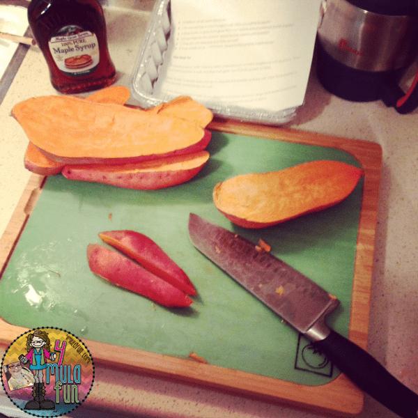 cutting sweet potatoes