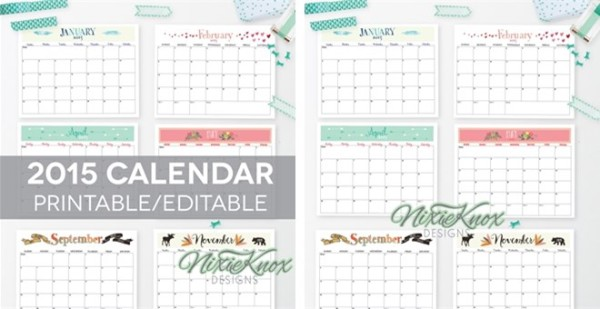 NIxie Knox Designs Calendar for 2015