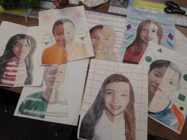 Teach symmetry with this self-portrait activity.