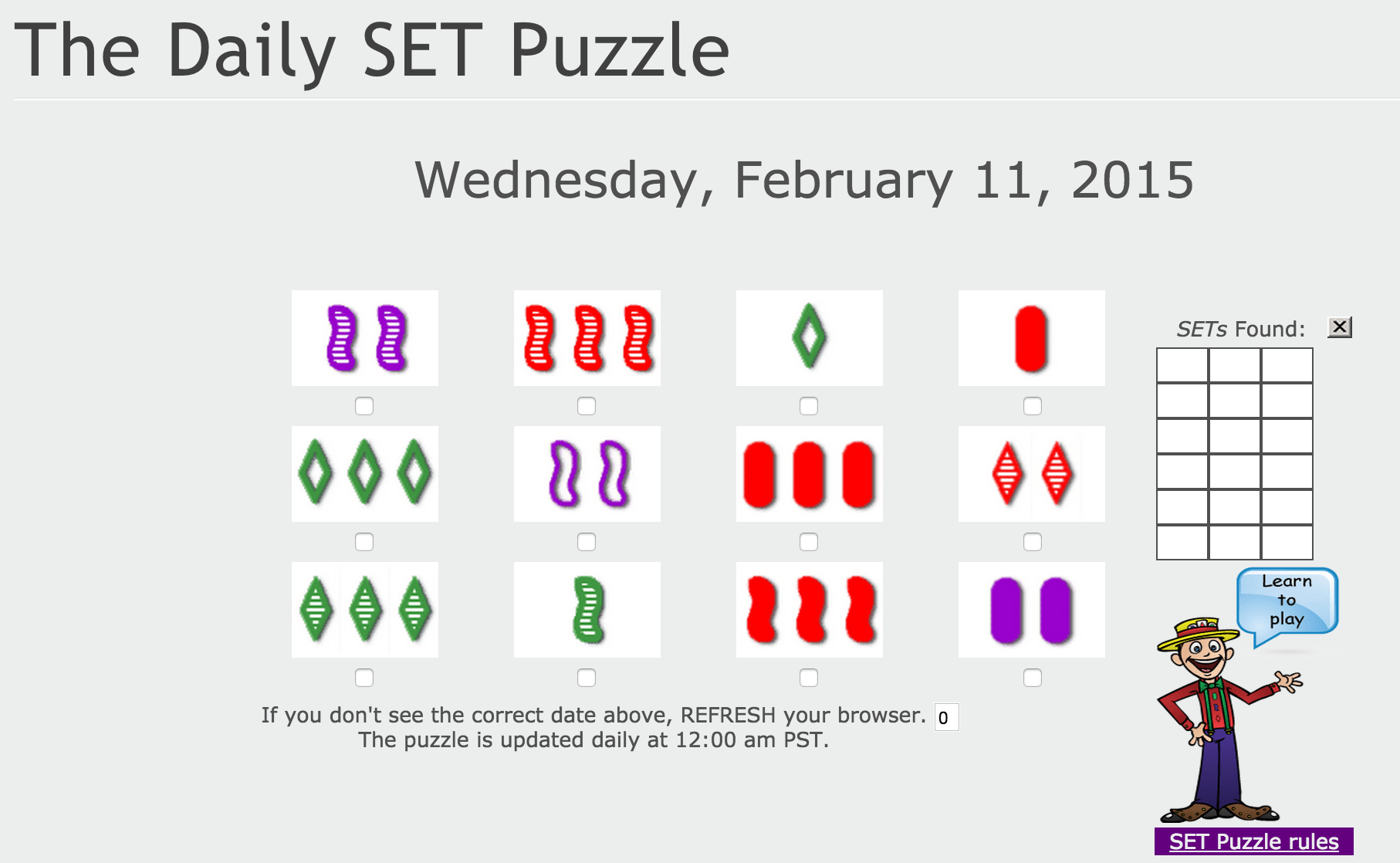 "Set Game practices pattern finding skills – players must discover the different ""sets"" of same or different tiles depending on their shape, pattern, and color."
