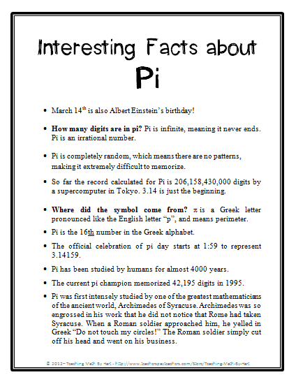 Interesting Pi Facts
