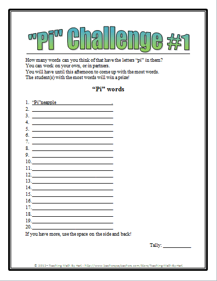 Pi Day Challenges