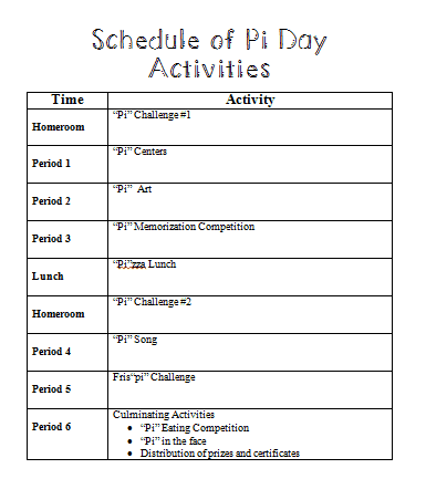 Pi Day Celebration Schedule