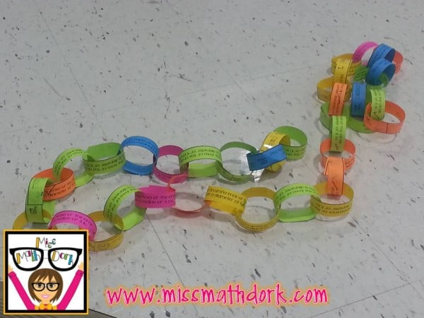 Pi Day Activity for Middle School – Making a Pi chain!