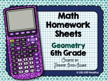 Sixth Grade Math Homework Sheets- Geometry