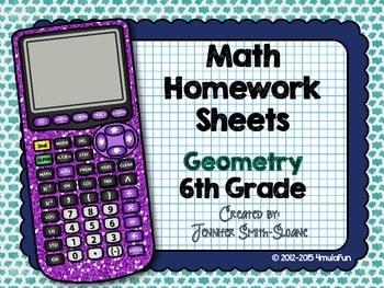 Sixth Grade Math Homework Sheets- Geometry