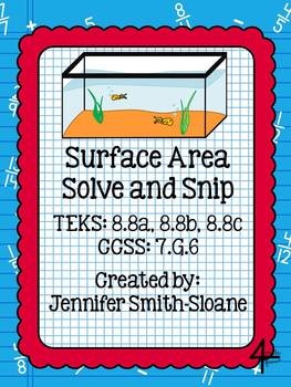 Surface Area Word Problems Solve and Snip- Common Core & TEKS