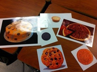 Then, I give them the activity Cookies, Cakes and Pi, OH MY!  I can't get them real food because of logistics, but they say these pictures make them so hungry!