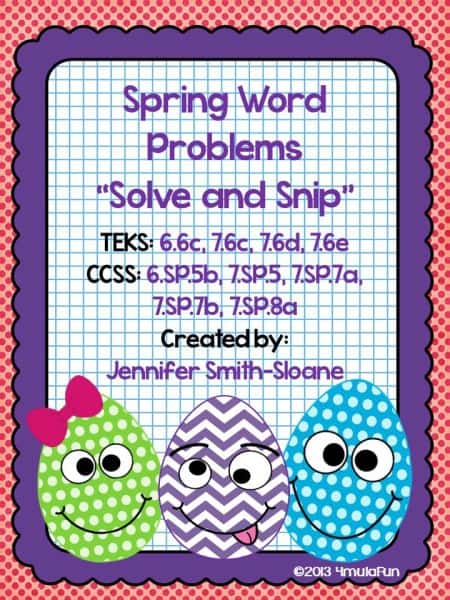 Spring themed math problems for sixth and seventh grades!