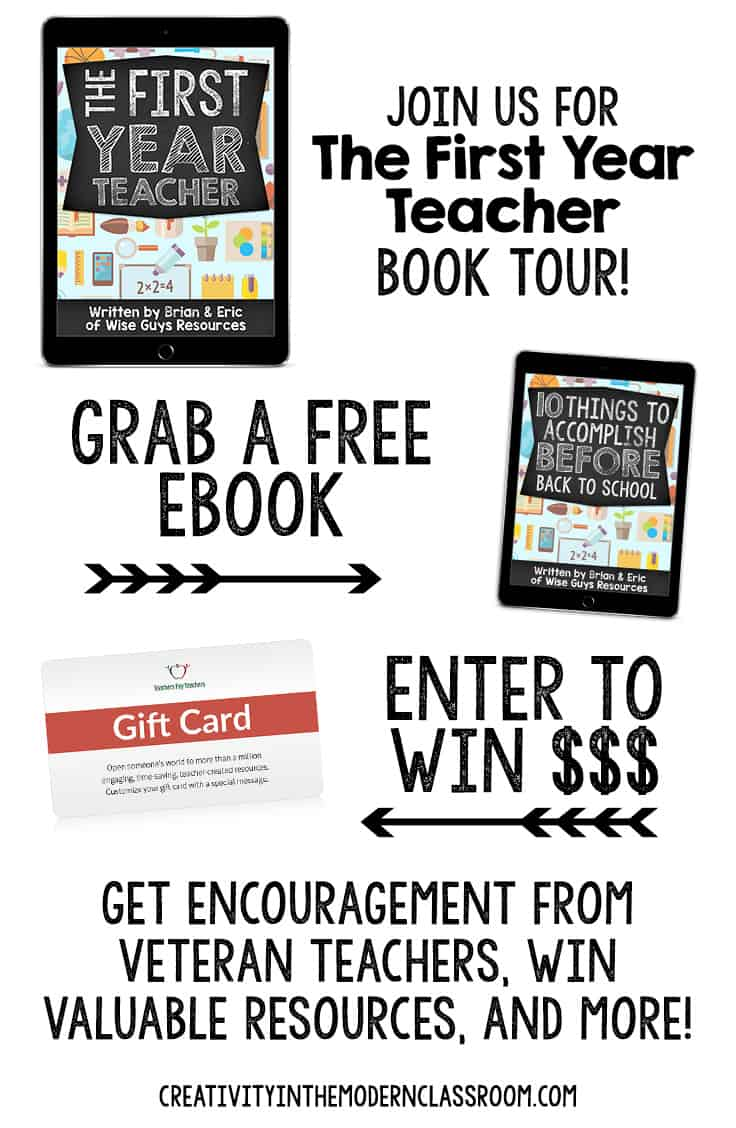 Join us for The First Year Teacher Book Tour to get all kinds of encouragement and great advice from veteran teachers, plus enter to win lots of prizes!