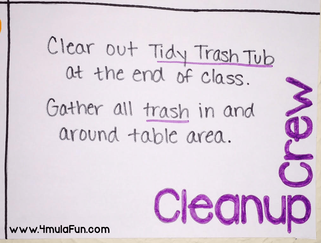 Poster idea for different table jobs to help tame the chaos in the classroom. This one is the Cleanup Crew who is responsible for cleaning up after class.