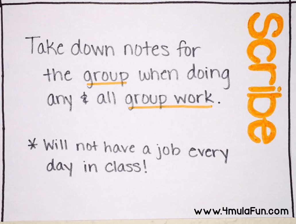Poster idea for different table jobs to help tame the chaos in the classroom. This one is the Table Scribe who is responsible for taking notes for the group when doing group work.