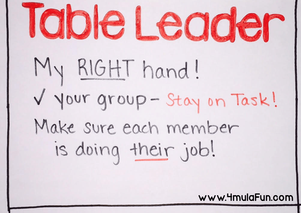 Poster idea for different table jobs to help tame the chaos in the classroom. This one is the Table Leader who is responsible for keeping everyone on task and doing their jobs.