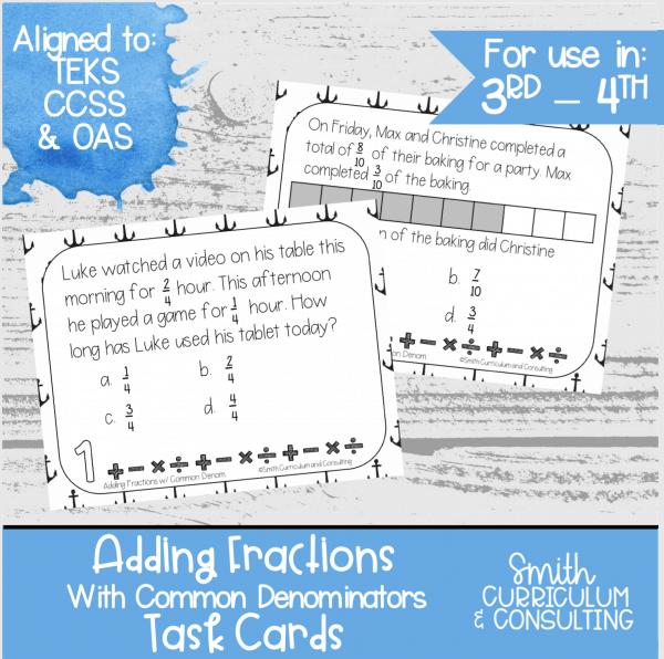 Adding Fractions Common Denominators Task Cards