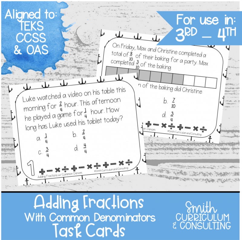 Adding Fractions Common Denominators Task Cards