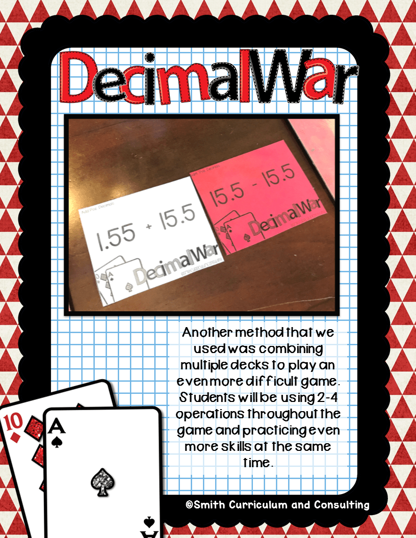 Decimal War is an Interactive Learning Game where students evaluate expressions involving decimals for all operations.