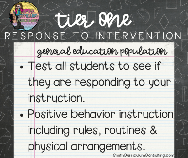 What is Tier One Response to Intervention? What are the components of it in our classrooms?