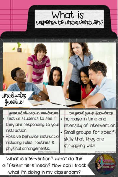 As a new (or even seasoned ) teacher, you may be struggling with the aspects of what is Response to Intervention (RTI). What does it mean for you as a teacher and what does it mean in your classroom? I'm here to help you understand some basic components as well as link you to a FREEBIE that you can implement in your classroom from Day One (or whenever you need to start).
