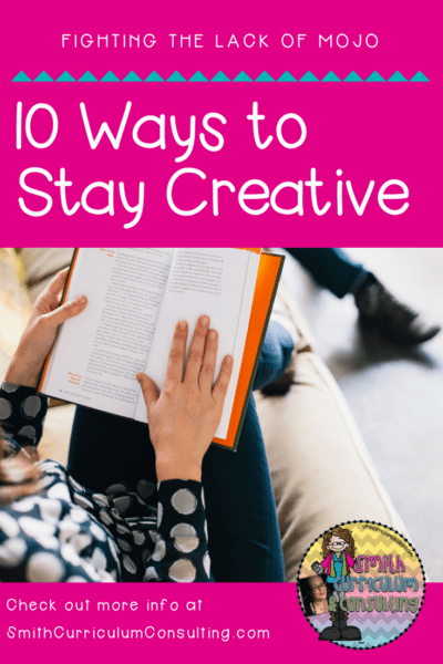 Now that the school year has been in full force I'm sure you are like me and struggle to stay on top of things as well as keep your sanity. Look through this list of the Ten Ways that help me Stay Creative and Sane throughout the school year and try one today. #mentalhealth