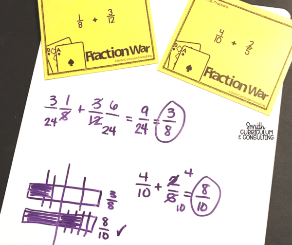 Not your standard War Game- In this game students are turning over fraction equations and must solve to find out who has the greater amount before taking the cards! Comes with all operations in color and black and white for easy differentiating and printing.