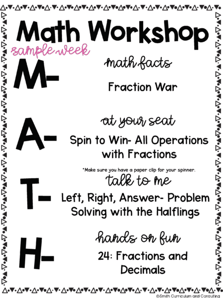 Sample Week of MATH Workshop for Middle School