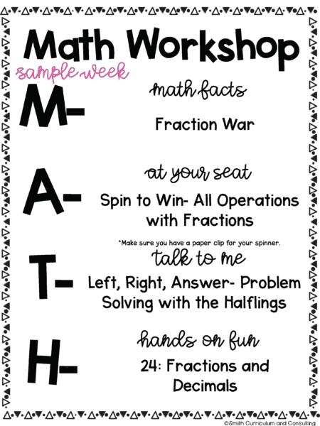 Sample Week of MATH Workshop for Middle School