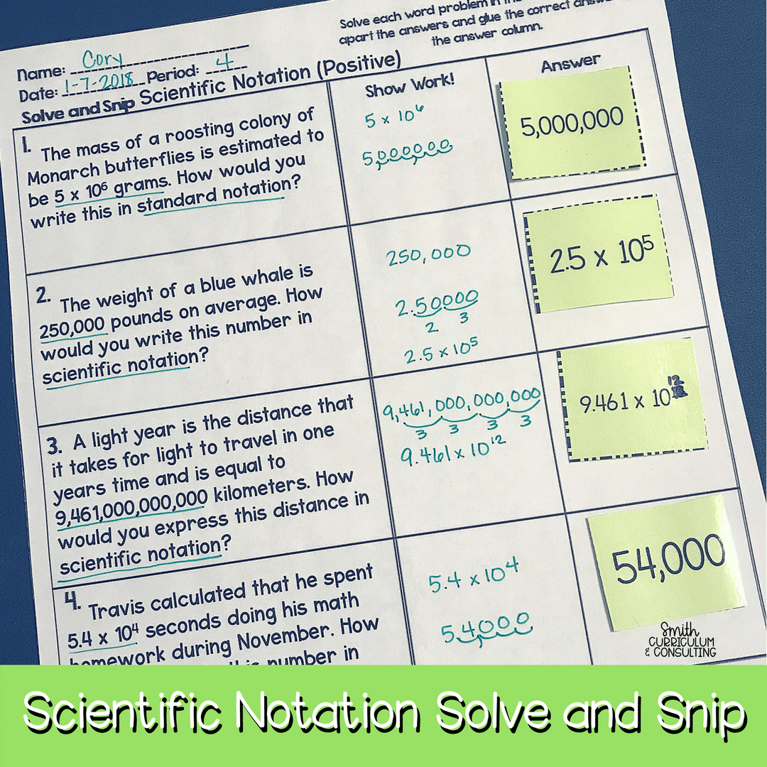 Scientific Notation Solve and Snip