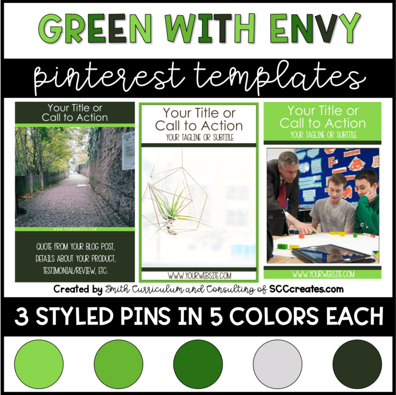 Green with Envy Pinterest Templates