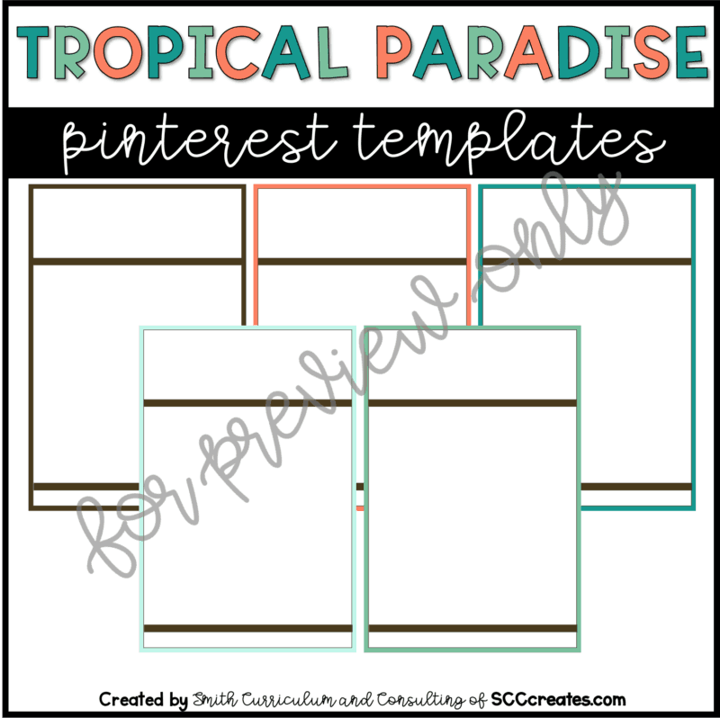 Tropical Paradise Style 3 Pin Templates
