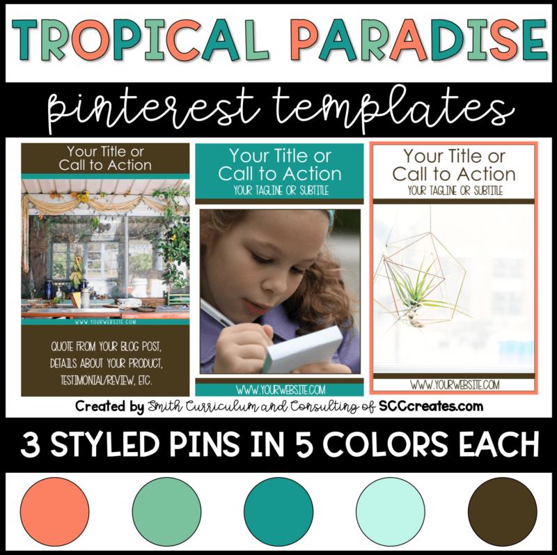 Tropical Paradise Pinterest Templates Set of 15