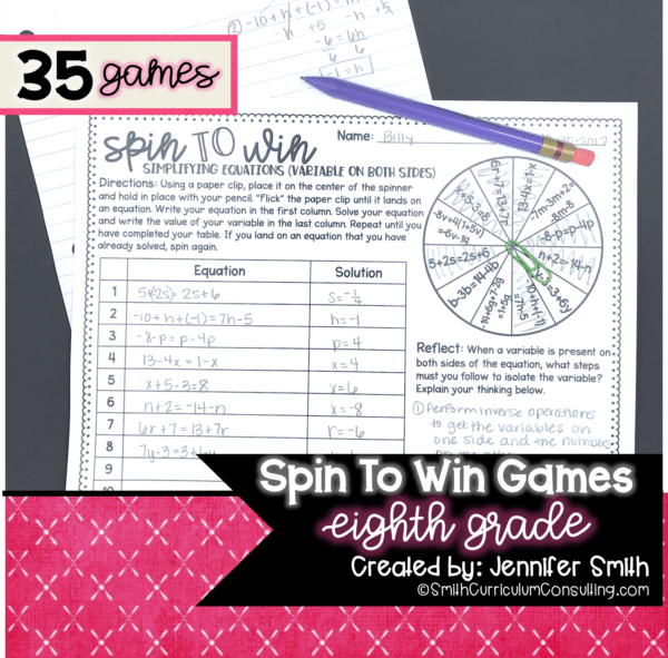 Eighth Grade Spin to Win